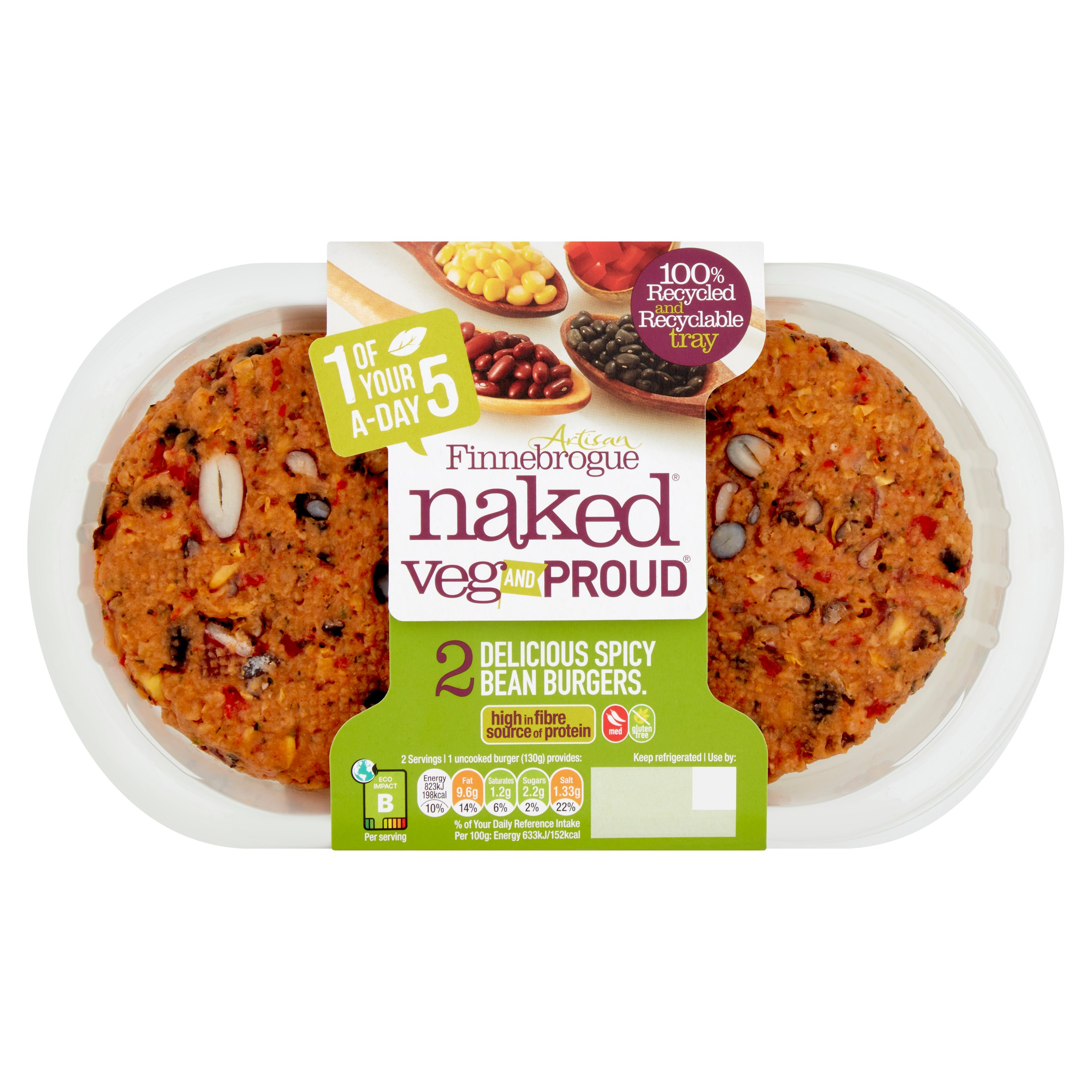 Naked Vegetable & Proud 2 Spicy Bean Burger 260G