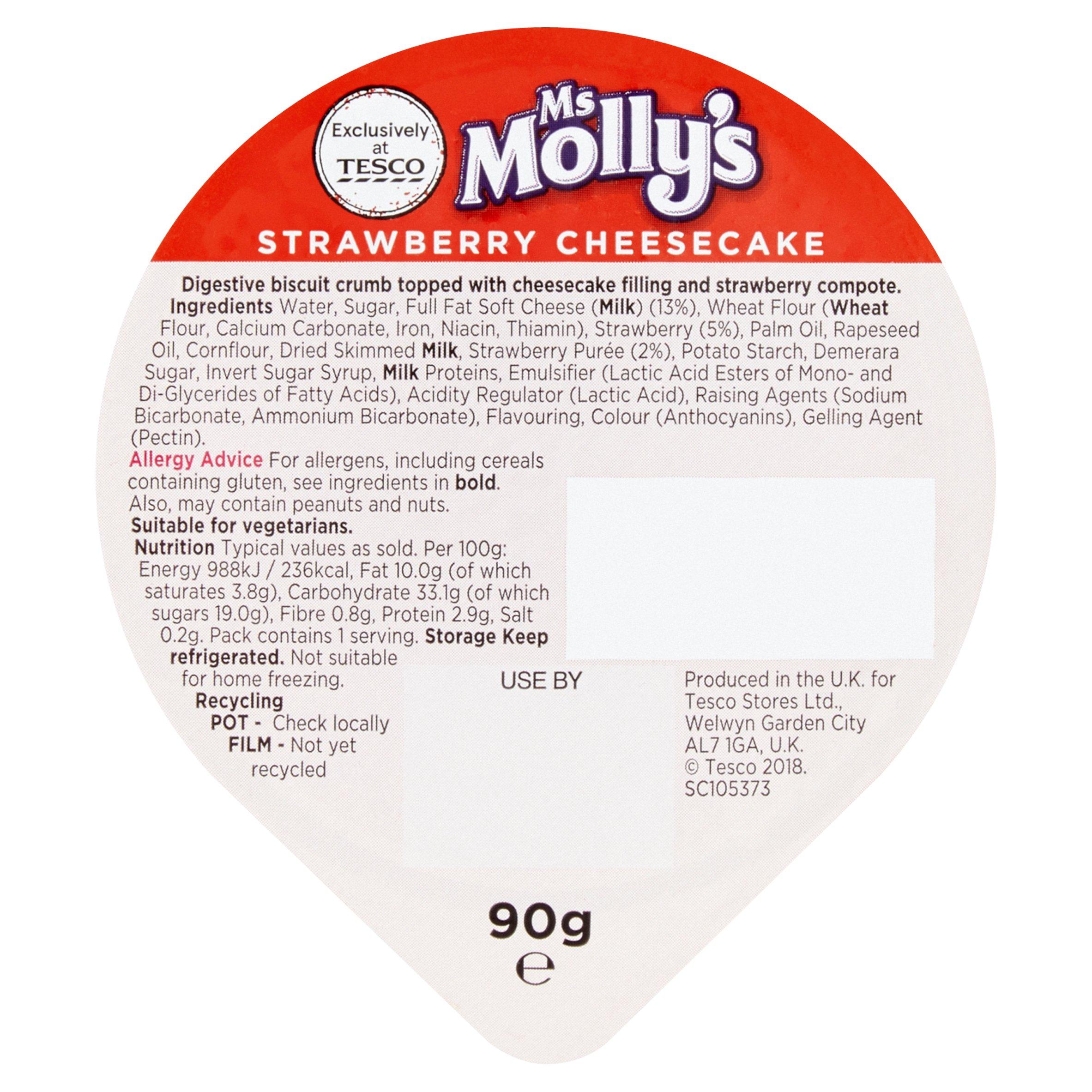 TESCO > Fresh Food > Ms Molly's Strawberry Cheesecake 90G
