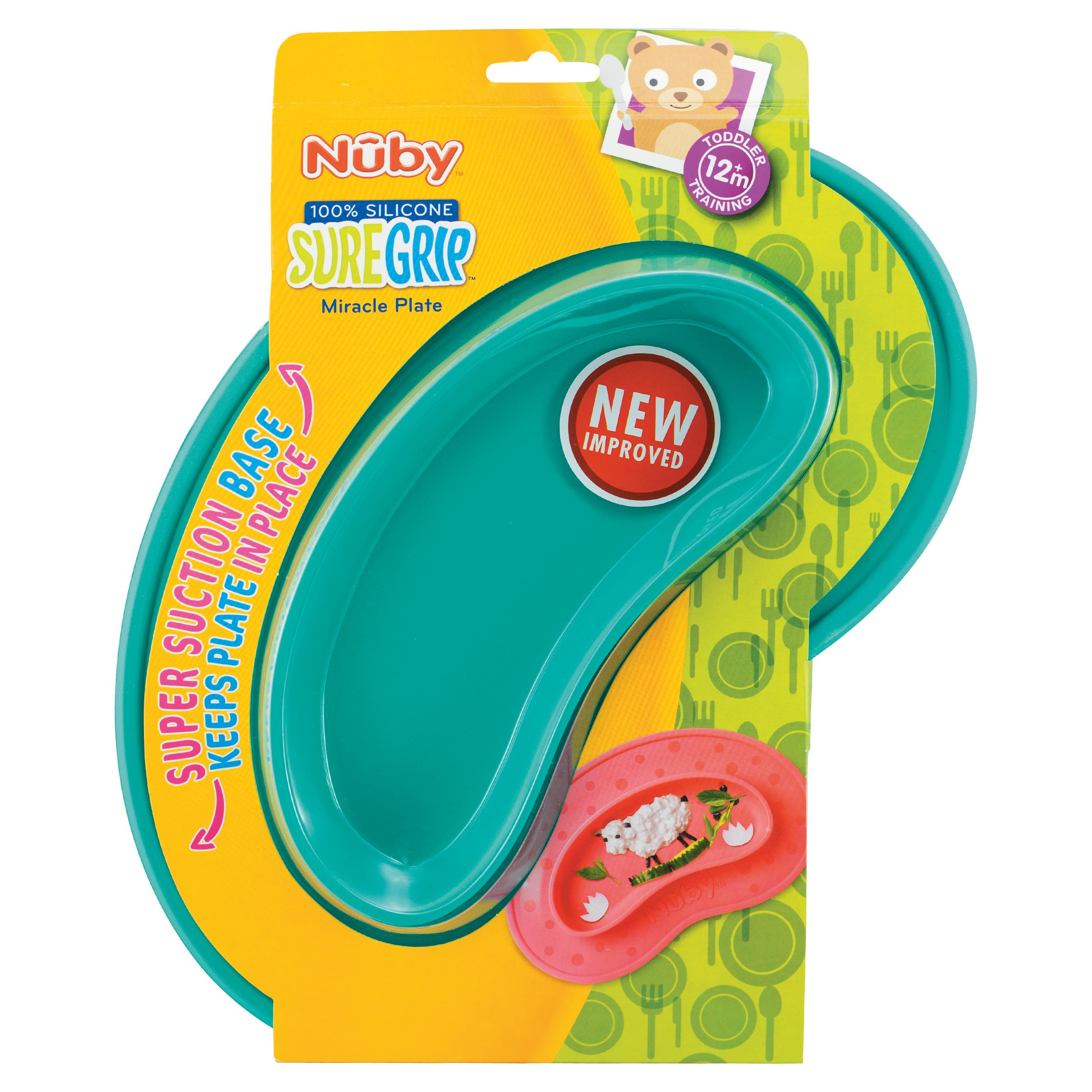 Assorted Colours Nuby UK Sure Grip Miracle Plate