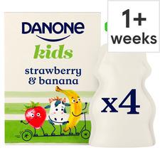 image 1 of Danone Kids Organic Strawberry & Banana Yogurt 4 X 70G