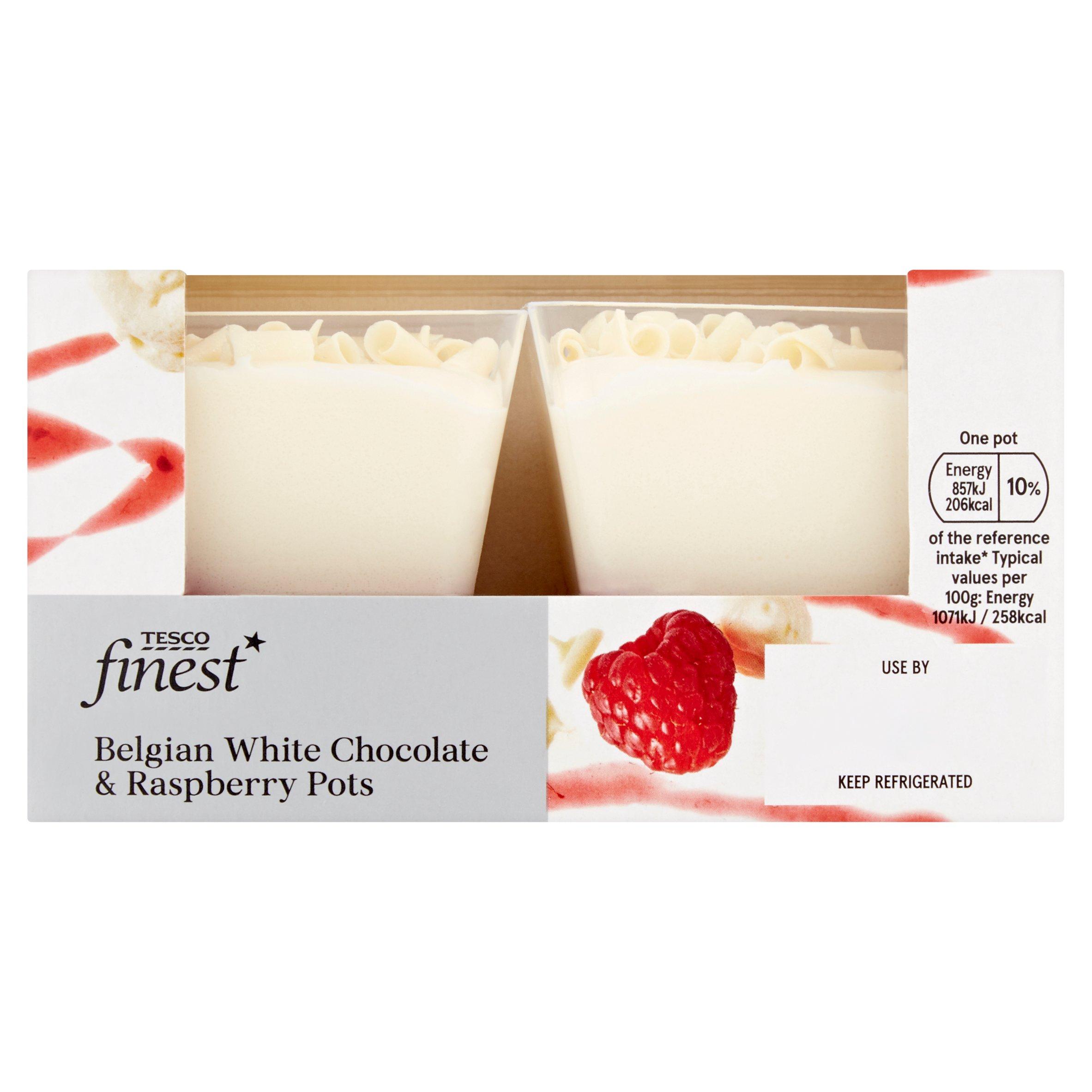 Tesco Finest White Chocolate & Raspberry Pots 2X80g
