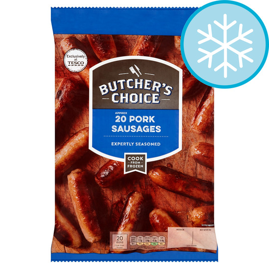 Butcher's Choice 20 Pork Sausages 907G