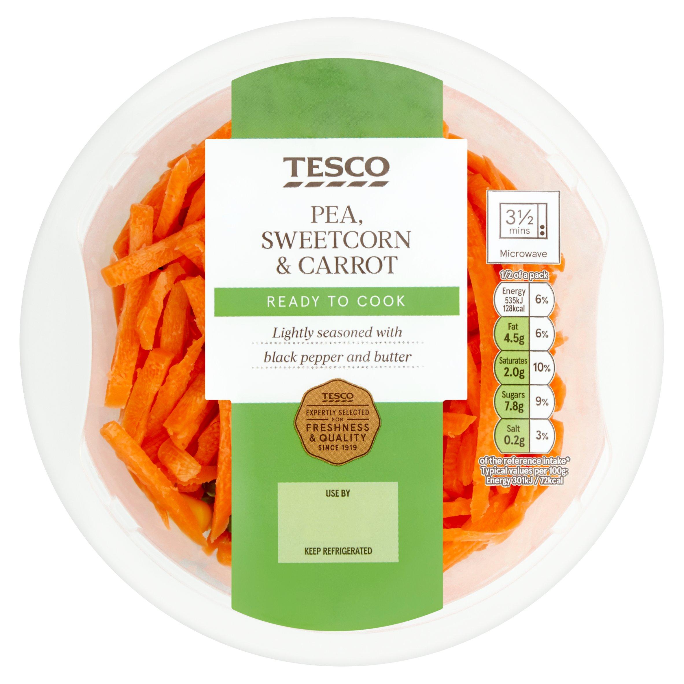 Tesco Carrot Sweetcorn & Peas Layered Vegetable 355G