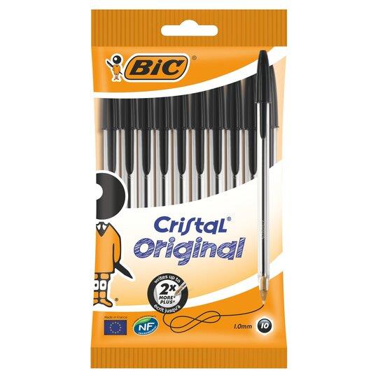image 1 of Bic Cristal Pens Black 10 Pack
