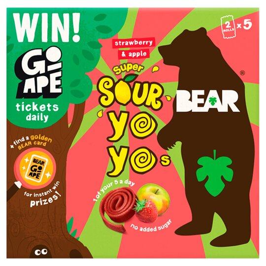 Bear Yoyo Sours Strawberry & Apple 10 Rolls 5 Pack