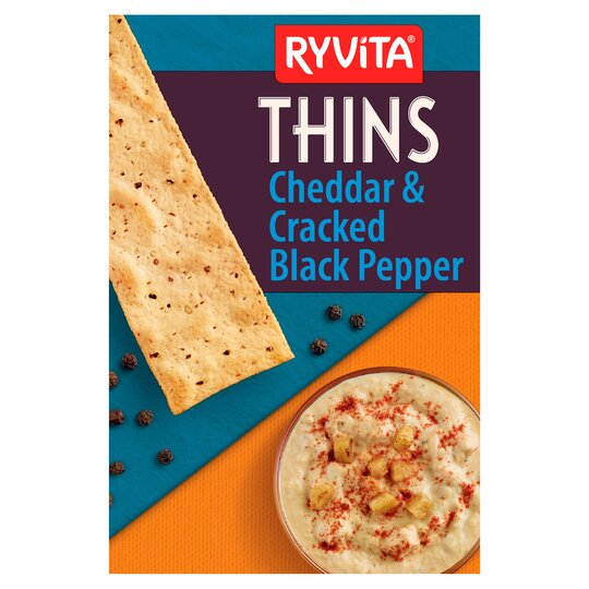 image 1 of Ryvita Cheddar & Crack Black Pepper Thins 125G