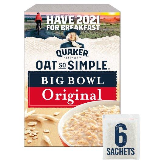 Quaker Oat So Simple Big Bowl Original Porridge 6 Pack 231G