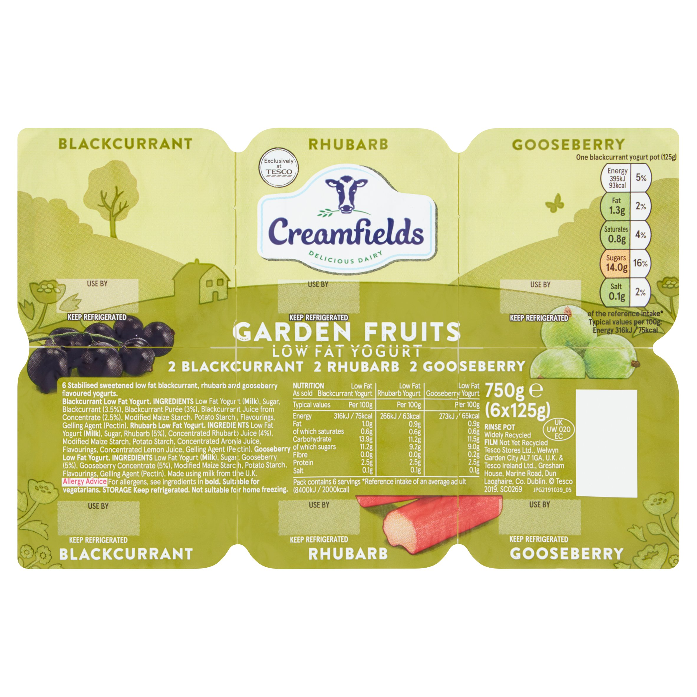Creamfields Low Fat Garden Fruit Yogurt 6X125g