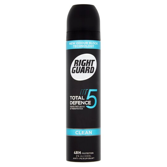 Right Guard Total Defence 5 Clean Antiperspirant Deodorant 250Ml