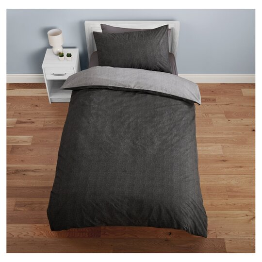 Tesco Black Reversible Duvet Set Single Tesco Groceries