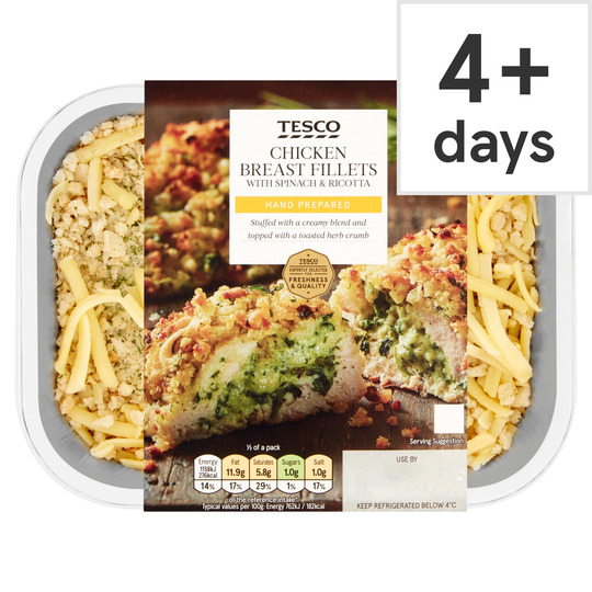Tesco Spinach Ricotta Chicken Breast 2 Pack 360g Tesco Groceries