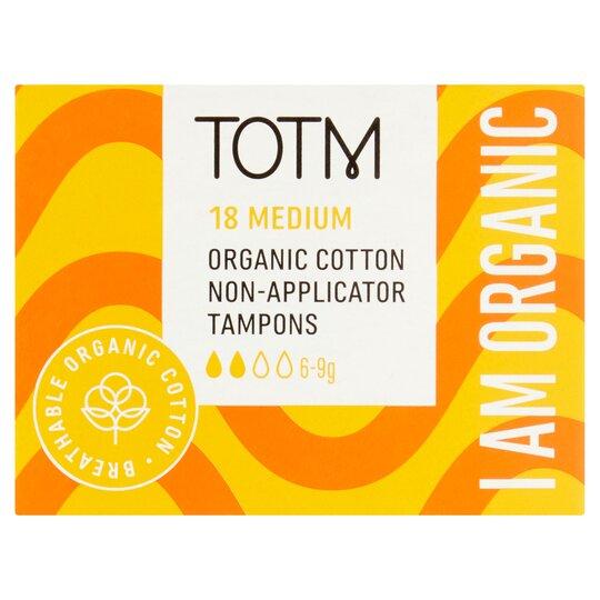 Totm Organic Cotton Non Appliator Tampons Regular 18