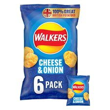 image 1 of Walkers Cheese & Onion Crisps 6X25g