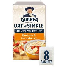 image 1 of Quaker Oat So Simple Heaps Of Fruit Banana & Strawberry Porridge 8X35.5G