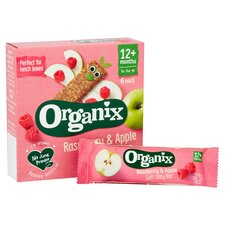 image 2 of Organix 12 Month Apple & Raspberry Fruit & Cereal Bar 6X30g