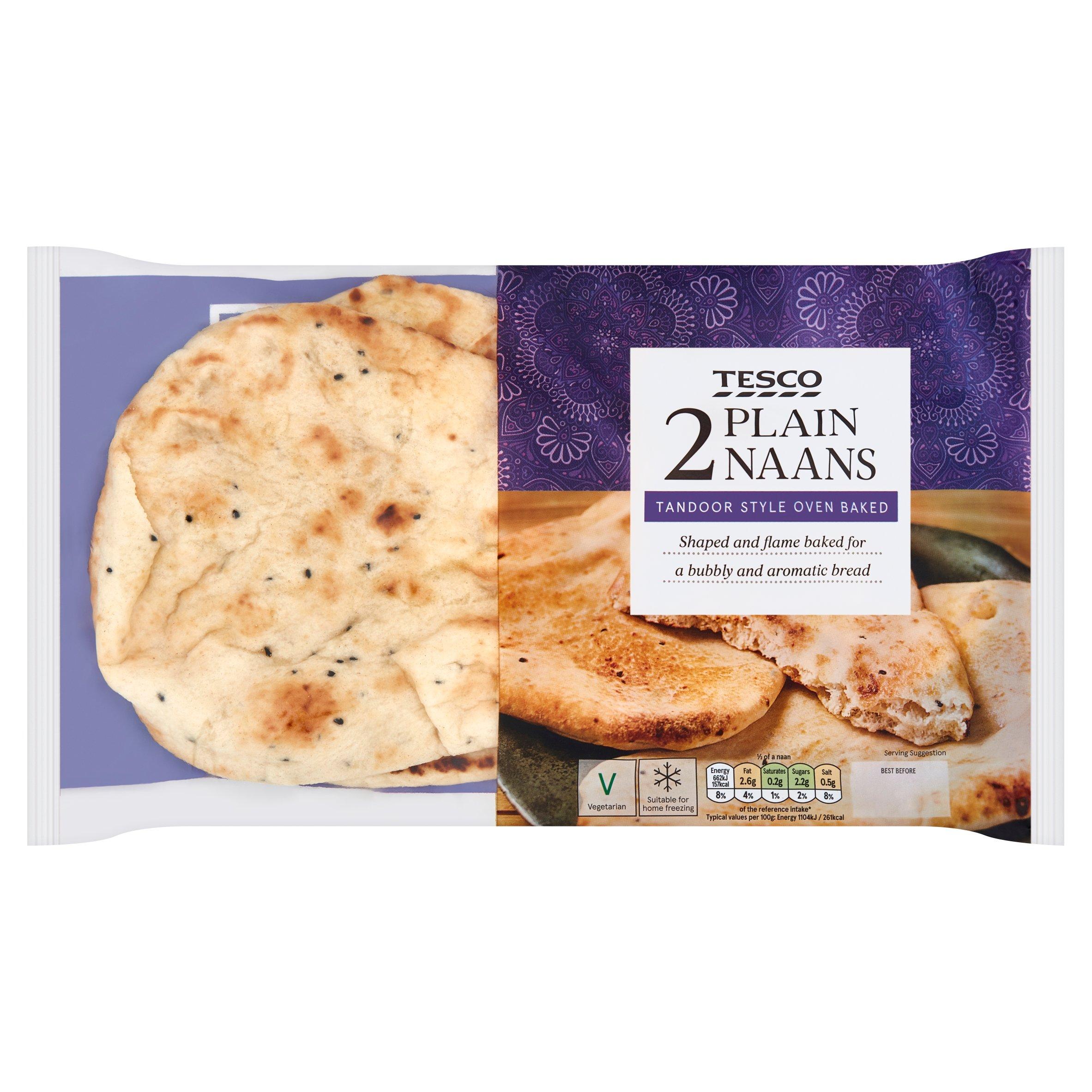 Tesco 2 Plain Naan Breads