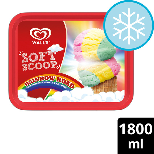 image 1 of Wall's Soft Scoop Rainbow Strawberry & Vanilla Ice Cream 1.8L