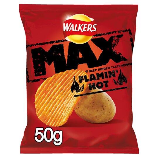 Walkers Max Flamin Hot Crisps 50G