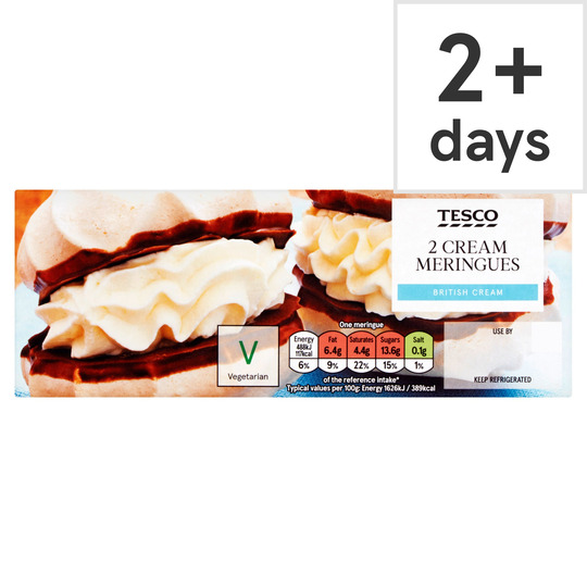 Tesco Fresh Cream Meringues 2 Pack Tesco Groceries