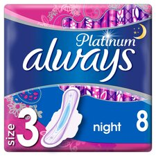 image 1 of Always Platinum Night Time Size 3 Sanitary Towels With Wings 8
