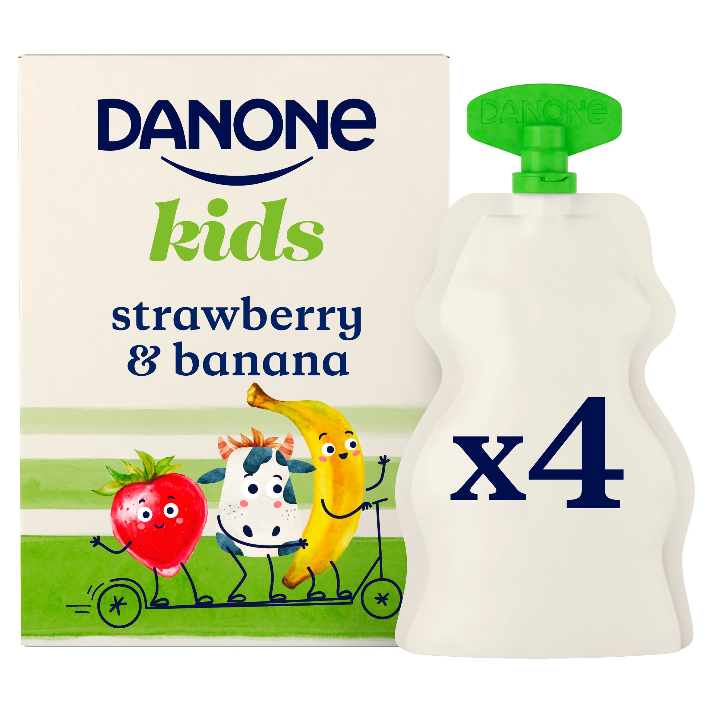 Danone Kids Organic Strawberry & Banana Yogurt 4 X 70G