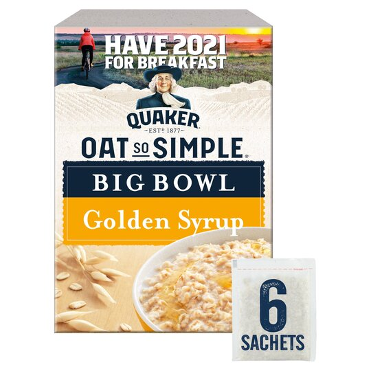 Quaker Oat So Simple Big Golden Syrup Porridge 6 Pack 298G