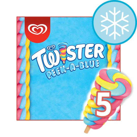 image 1 of Wall's Twister 5 Peek-A-Blue Ice Lollies 350Ml