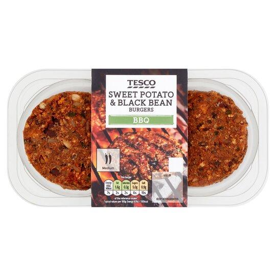 Tesco 2 Sweet Potatoes Blackbean Burgers 215g