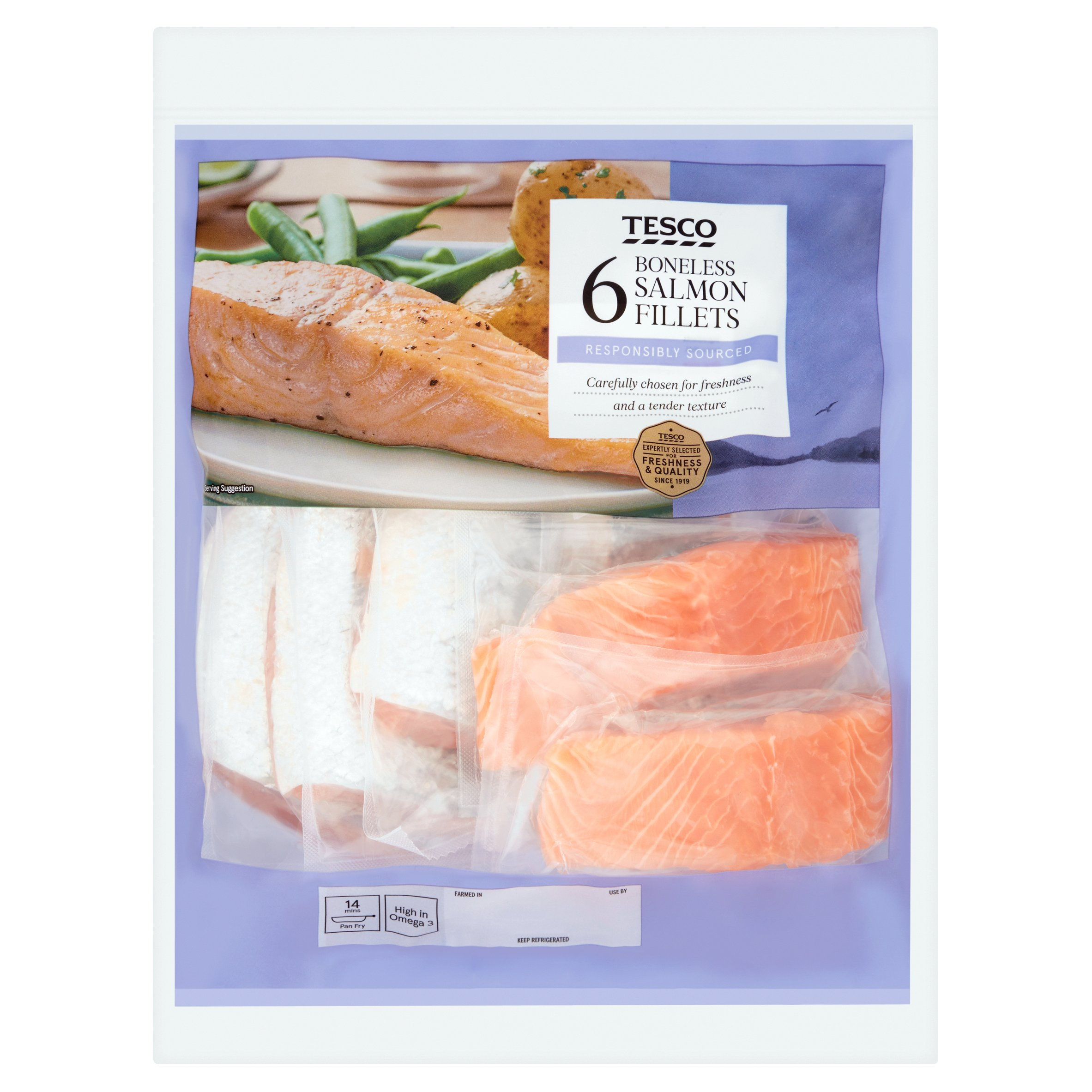 Tesco 6 Boneless Salmon Fillets 780G
