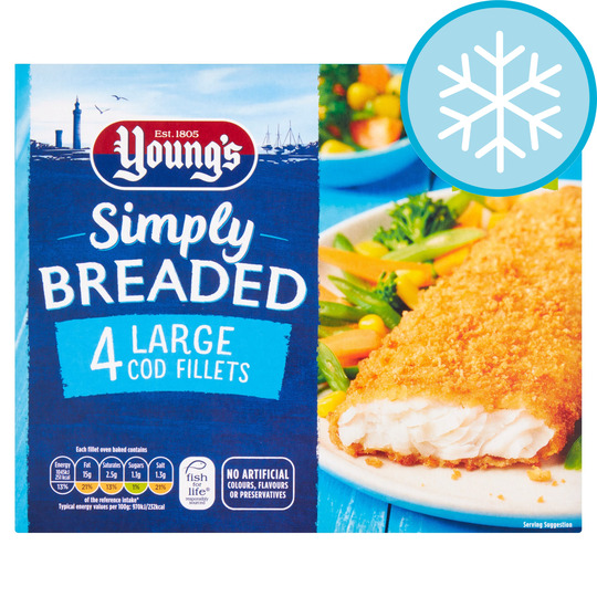 Youngs Simply Breaded 4 Large Cod Fillets 440G