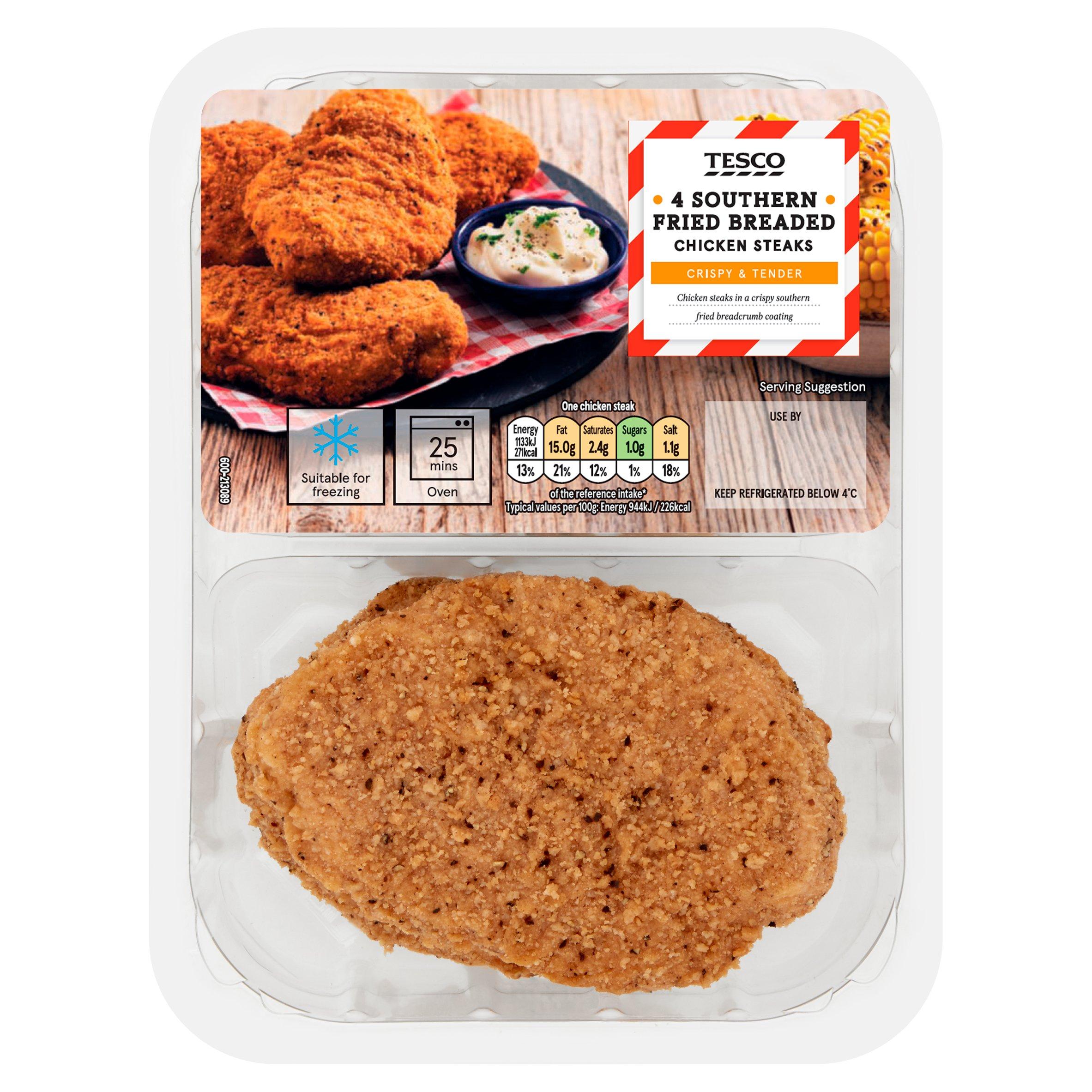 Tesco 4 Southern Fried Breaded Chicken Steaks 505G