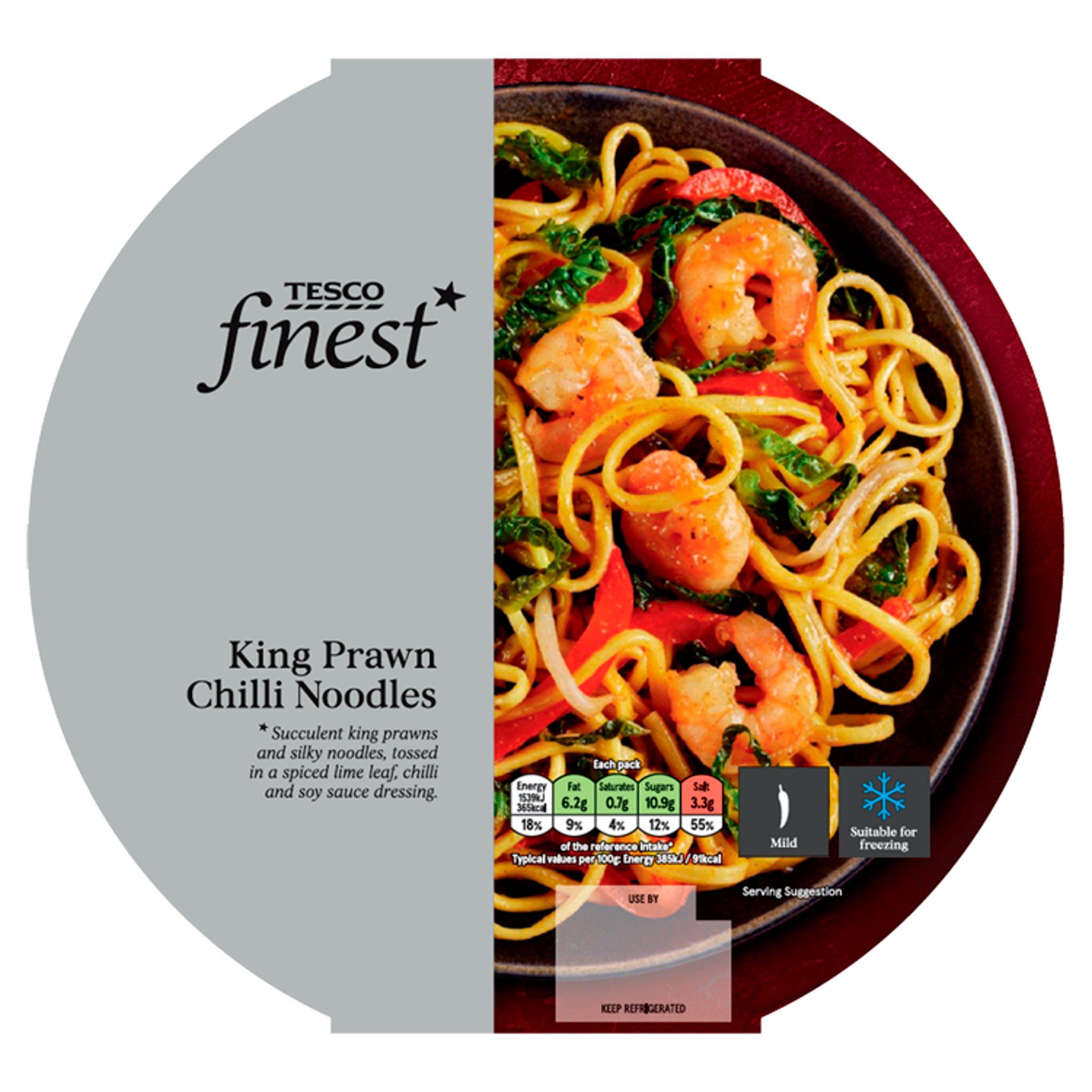 Tesco Finest King Prawn Chilli Noodles 400G