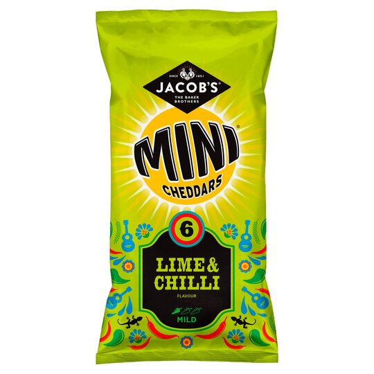 Jacobs Mini Cheddars Lime & Chilli 6 Pack 150G