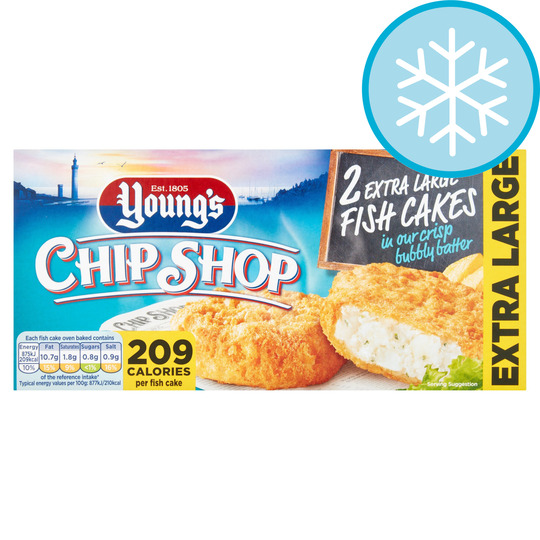 Youngs Chip Shop 2 Extra Large Fish Cakes 210G