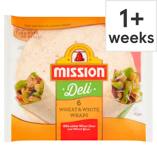 Mission Deli Wheat & White Wraps 6 Pack 367G