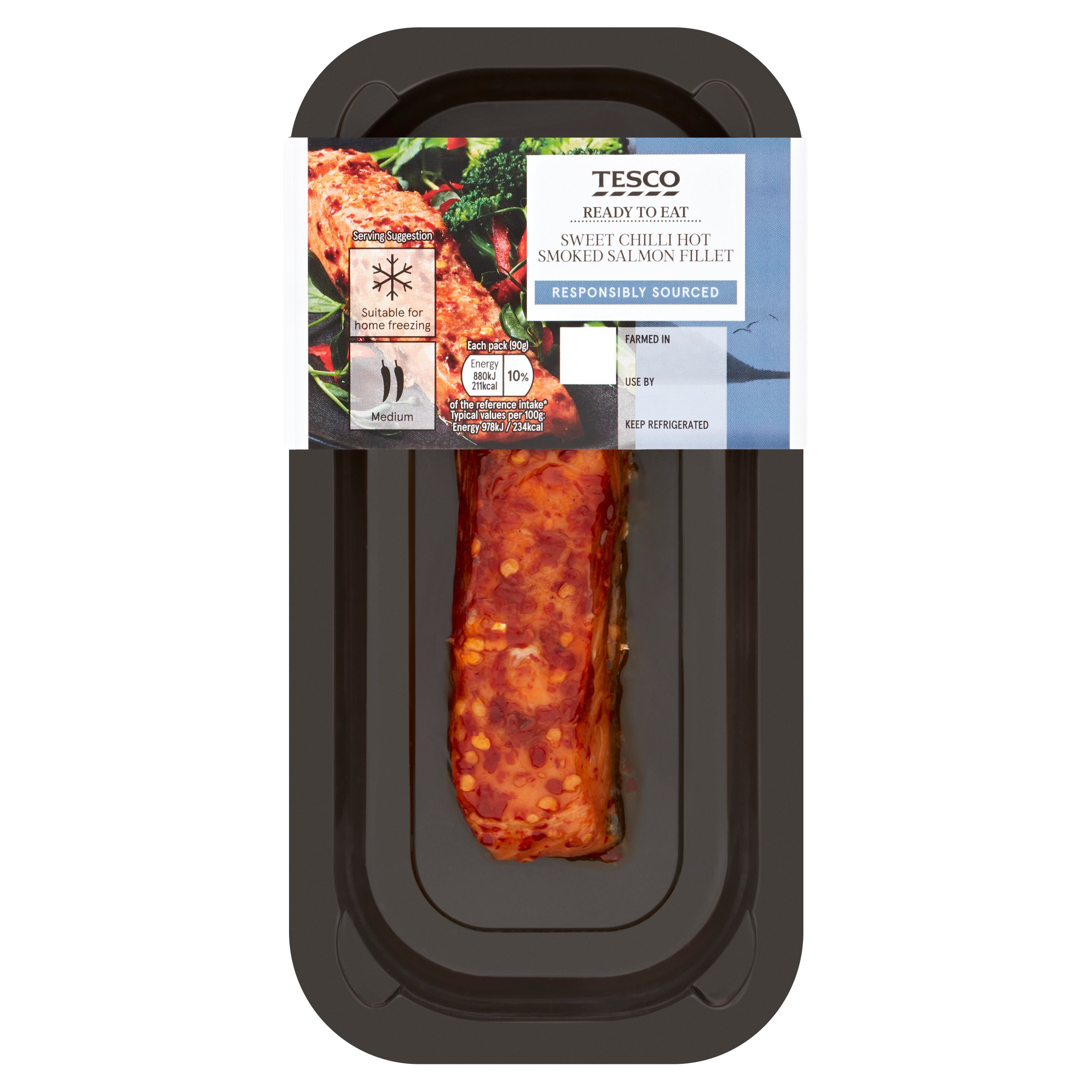Tesco Hot Smoked Salmon Fillet With Chilli 90G