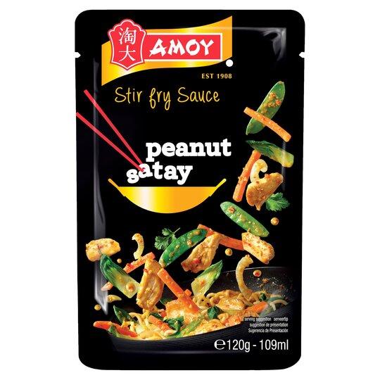 Amoy Stir Fry Peanut Satay Sauce 120g Tesco Groceries