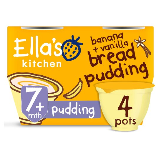 image 1 of Ella's Kitchen Banana & Vanilla Bread Pudding 4X80g