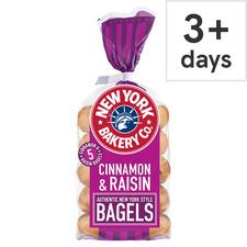 image 2 of New York Bakery Cinnamon & Raisin Bagels 5 Pack