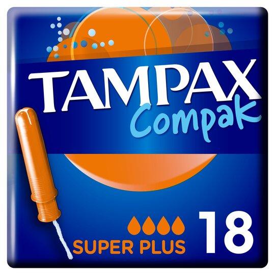 image 1 of Tampax Compak Super Plus Applicator Tampons 18