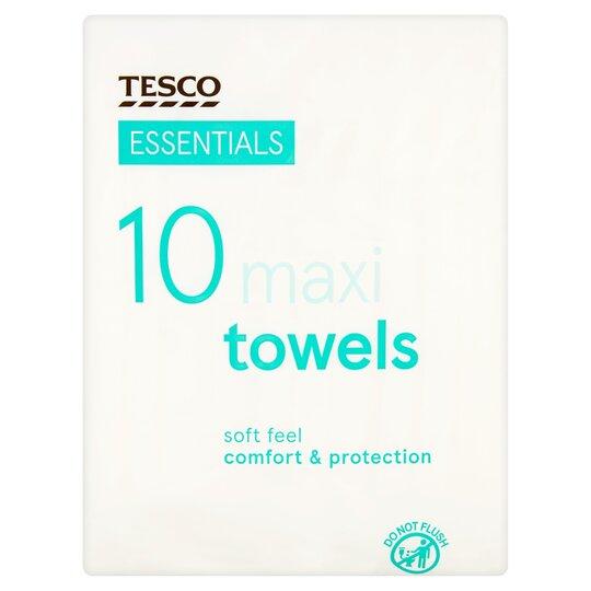 Tesco Essentials Maxi Towels 10 Pack
