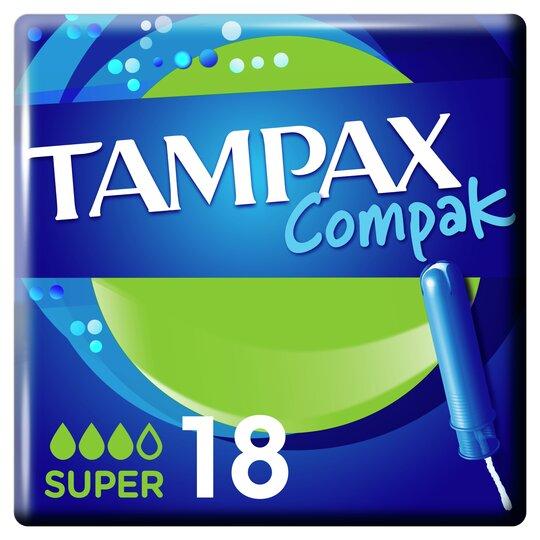 image 1 of Tampax Compak Super Applicator Tampons 18