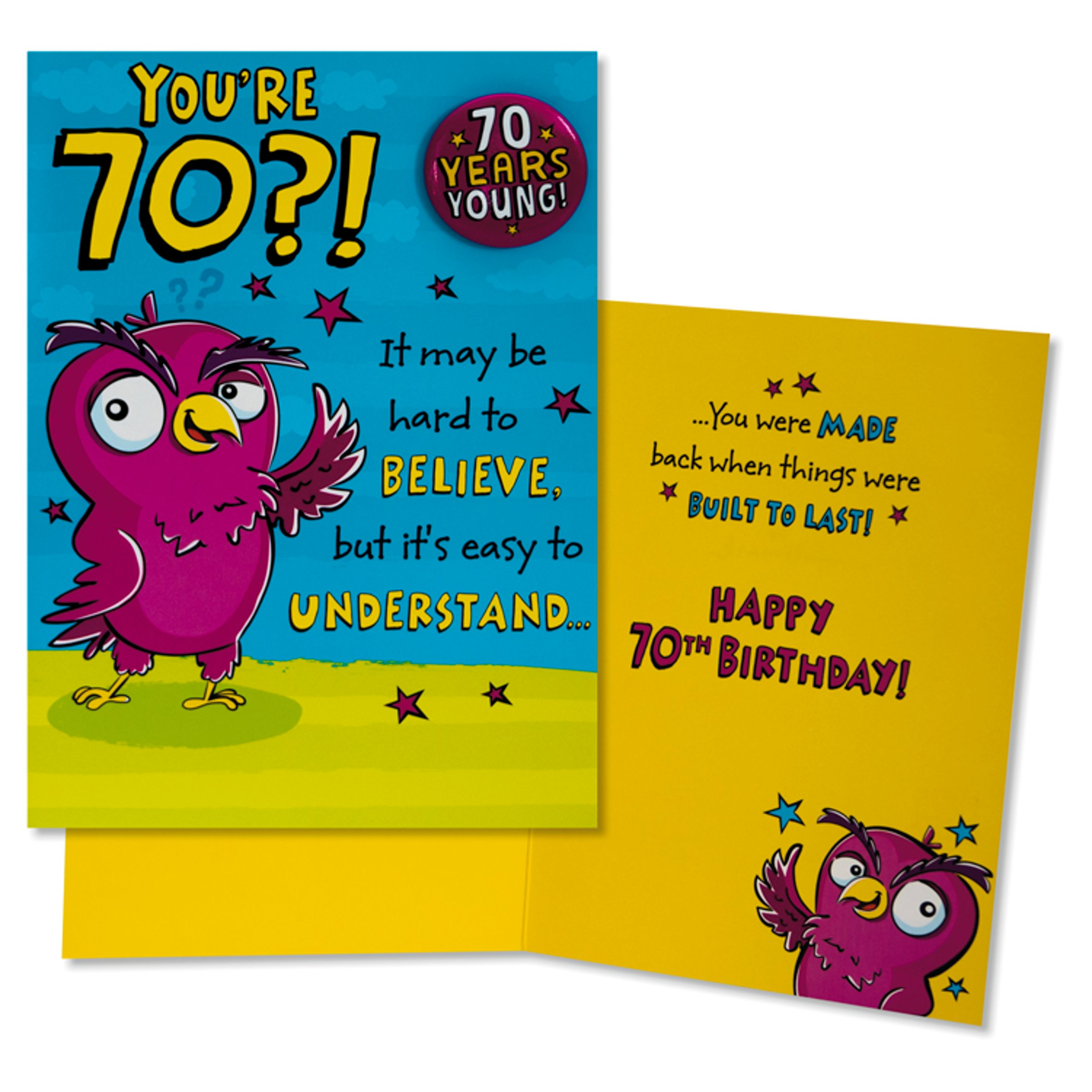 Age 70th Birthday Hallmark Card With Badge 70 Years Young /'You/'re 70/'! Medium