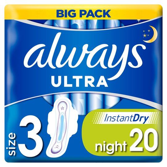image 1 of Always Ultra Night Size 3 Sanitary Towels With Wings 20