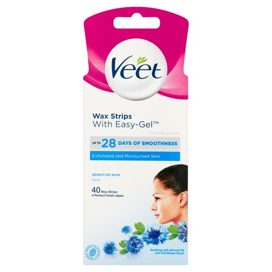 Veet Wax Strips Sensitive Skin Face 40 Pack Tesco Groceries