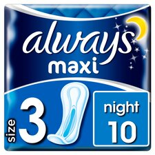 image 1 of Always Maxi Night Sanitary Towels 10 Pack