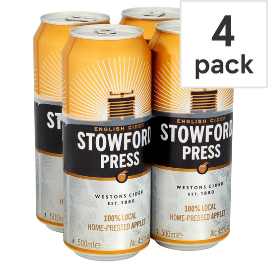STOWFORD PRESS APPLE CIDER 4X500ML CAN - Tesco Groceries