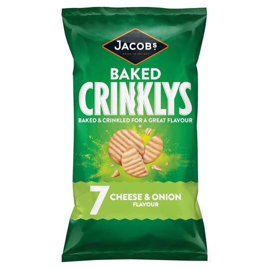 Jacobs Crinklys Cheese & Onion Crisps 7 x 25 g
