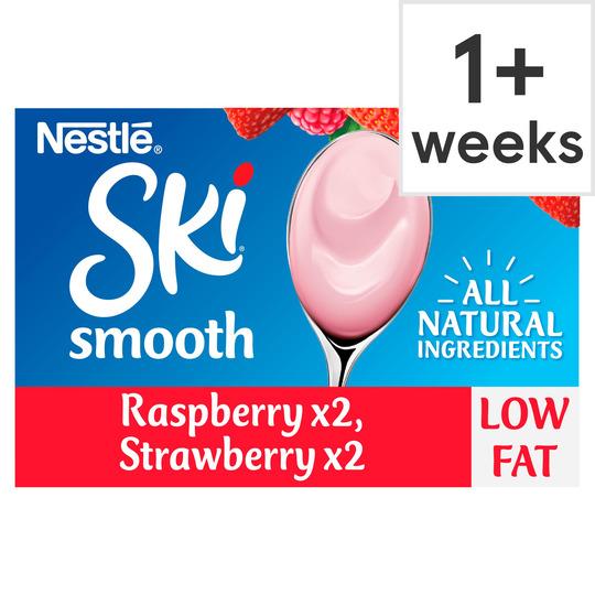 Ski Smooth Strawberry & Raspberry Yogurt 4X120g