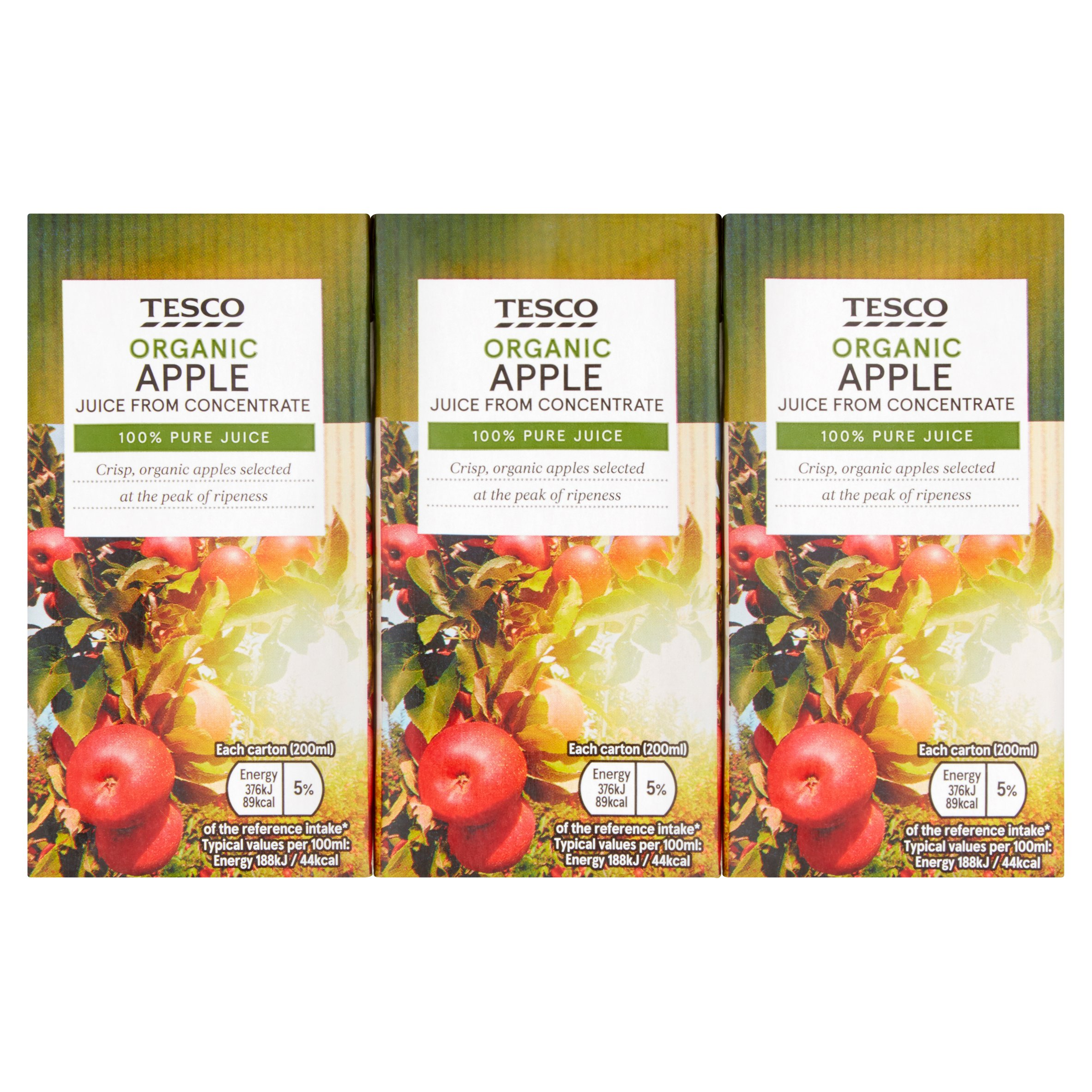 Tesco Organic Apple Juice 3X200ml